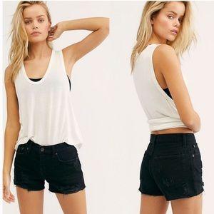 Free People Sophia True Black Distressed Shorts